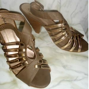 Qupid Brown and Gold Strappy Chunky Block Heels
